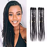 AOSOME 20 inch Real Human Hair Dreadlocks Extension 10 Strands Dreads Full Handmade Braiding Hair Natural Black Color