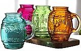 "Circleware Family Multi-colored Glass Drinking Glasses Set, 26 Ounce, Set of 4, Mason Jar Beer Mug/cups Embossed ""Family"", Limited Edition Glassware Drinkware Barware Jar Mugs"