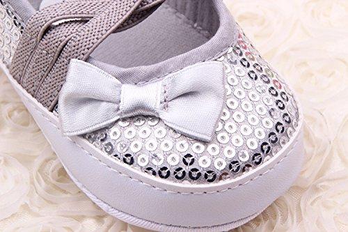 YICHUN bebé niñas vestido zapatos Prewalker zapatos zapatos de cuna suave zapatos princesa lazo de lentejuelas plateado plata Talla:Sole Length:11cm/4.3 inches plata