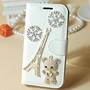 LC Bling 3d White Leather Case Diamond Rhinestone Wallet Card Flip Cover for Htc New One M7 (A8)