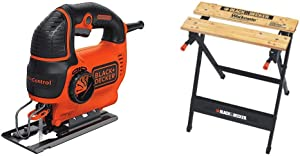 BLACK+DECKER Jig Saw, Smart Select, 5.0-Amp with Workmate Portable Workbench, 350-Pound Capacity (BDEJS600C & WM125)