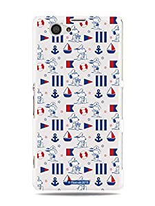 GRÜV Premium Case - 'Peanuts Snoopy Nautical Sailing' Design - Best Quality Designer Print on White Hard Cover - for Sony Xperia Z1 Compact Mini D5503 M51w