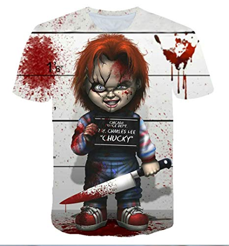 MaeFte Chucky Doll T-Shirts Halloween Scarface Movie Short Sleeved Shirts (L, Style 6)]()