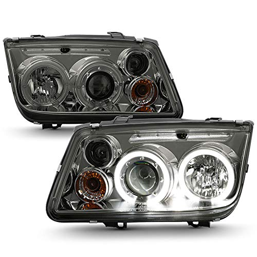 ACANII - For 1999-2005 Volkswagen Jetta LED CCFL Halo Smoked Lens Projector Headlights Headlamps, Driver & Passenger