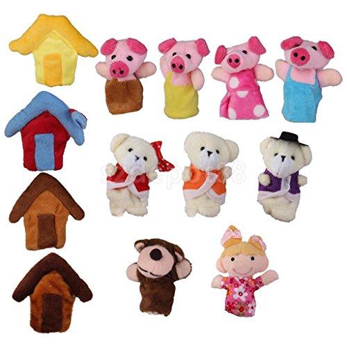 2 Sets Animal Finger Puppets Toys Boys Girls Party Bag Filler Bear Pig Story by uptogethertek