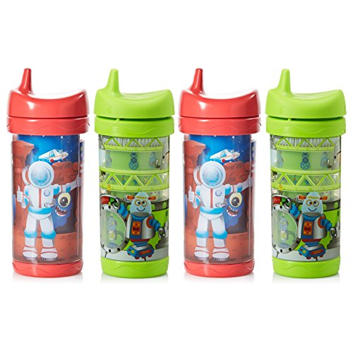 - Evenflo Feeding Fun Sip and Seek Leak-Free Insulated Sippy Cups with Three Flow Rates for Growing Baby and Toddler - Red/Green, 10 Ounce (Pack of 4)