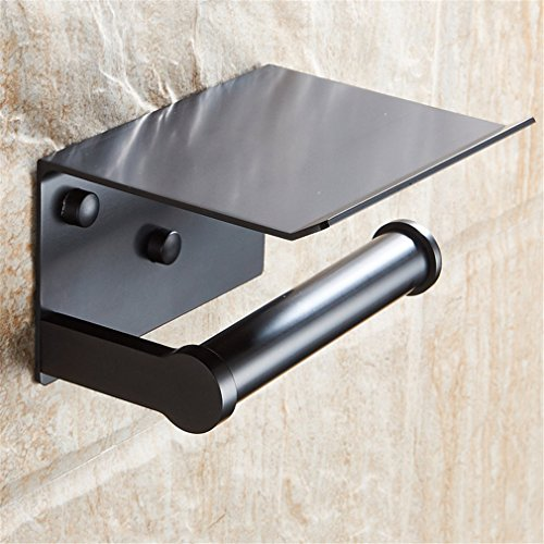 DIEERCARS Wall Mounted Space Aluminum Black/Golden Paper Towel Shelf Phone Toilet Paper Holder ()