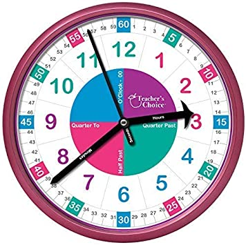 Pink Educational Wall Clock Time Teaching Clock Perfect for Teachers Classrooms and Kids Bedrooms