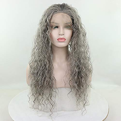 Candice Hair Synthetic Glueless Lace Front Wigs Long Loose Curly with Baby Hair Natural Hairline Heat Resistant Fiber Lace Wigs Swiss Natural Gray Wig For Black Women 180 Density 24 -