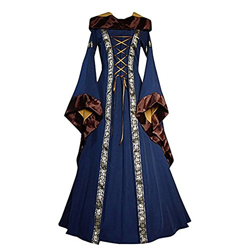 Irish Over Dress Renaissance Costume Medieval Maiden Cosplay (Hooded Renaissance Dress)