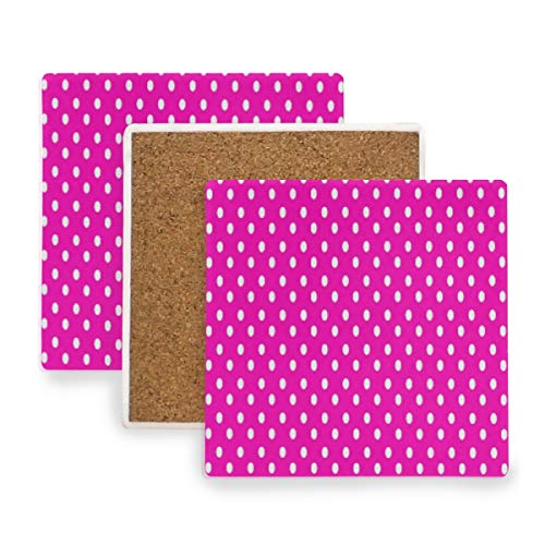 Polka Dot Party Coasters - Large Square Drink Coasters,White Polka Dot Pink Ceramic Thirsty Stone With Cork Back Cup mats Protect Your Furniture From Spills, Scratches, Water Rings and Damage 2 pcs