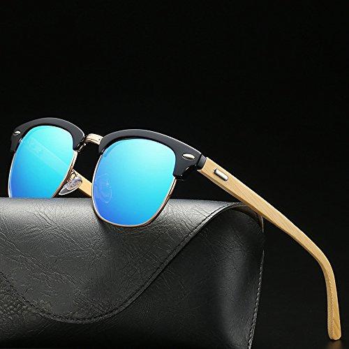 mujer Brillantes madera Alla Moda polarizadas sol clásicas de sol Gafas SEEKSUNG® de gafas Gafas montura con de Blue para de hombre sol Nuevo de B7xqZwp