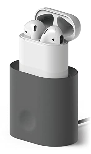 elago AirPods Stand Charging Station for Apple AirPods Case - [Cable Management] [Long-lasting Dock] [Modern Design] - Dark Gray