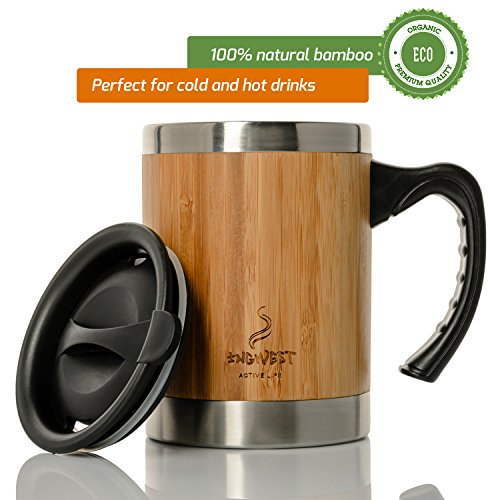 InGwest Active Life. Stainless Steel and Bamboo Insulated Coffee Mug. 13.5 ounce. Insulated mug for hot or cold drinks with lid and handle!