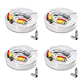 (4) 60ft Pre-Made All-in-One Siamese BNC Video and Power Cable Wire Cord with BNC to RCA Connectors for CCTV Security Camera & DVR (4 Pack, 60 Feet, White)