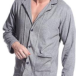D&P Men\'s Soft Cotton Long Pajamas Sleepwear Loungewear Set (S, Light Grey)