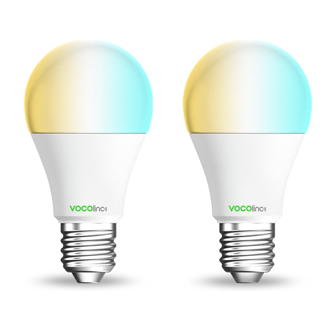 VOCOlinc L2 Smart LED Light Bulb (A19), 2200K-7000K Tunable Cool to Warm Whites, Adjustable, Dimmable, Works with Apple HomeKit, Alexa and Google Assistant, No hub Required, Wi-Fi 2.4GHz (2 Pack)