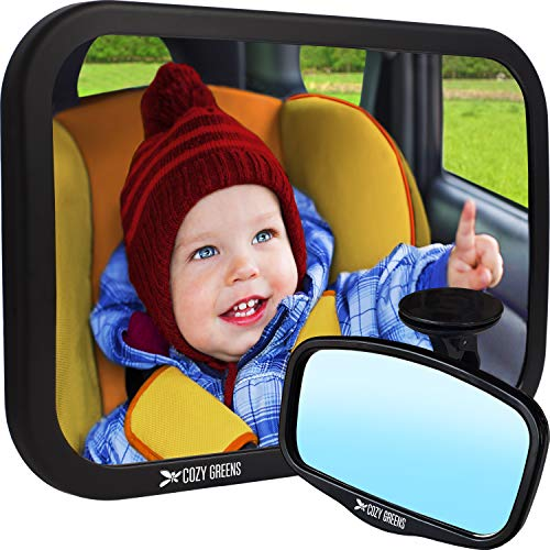 COZY GREENS Baby Car Mirror | Baby Mirror for Car Back Seat | Carseat Mirrors for Backseat Rear Facing Infant | 100% Lifetime Satisfaction Guarantee | Crash Tested | Premium Matte Finish