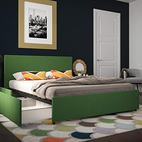 Novogratz 4297939N Kelly Bed with Storage, Queen, Green