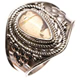 StarGems(tm) Natural Opalite Handmade Boho 925 Sterling Silver Ring, US Size 8