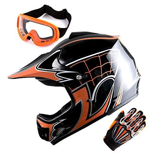 Motocross Helmet Orange (WOW Updated Youth Motocross Helmet Kids Motorcycle Bike Helmet Spider Orange + Goggles + Skeleton Orange Glove Bundle)