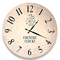Large Wall Clock 24 for Wall Décor in Modern Farmhouse or Rustic Style Home - Non-Ticking Round Clock Will be Perfect in Bedroom, Living Room, Kitchen or Office. 60 cm, White & Teal