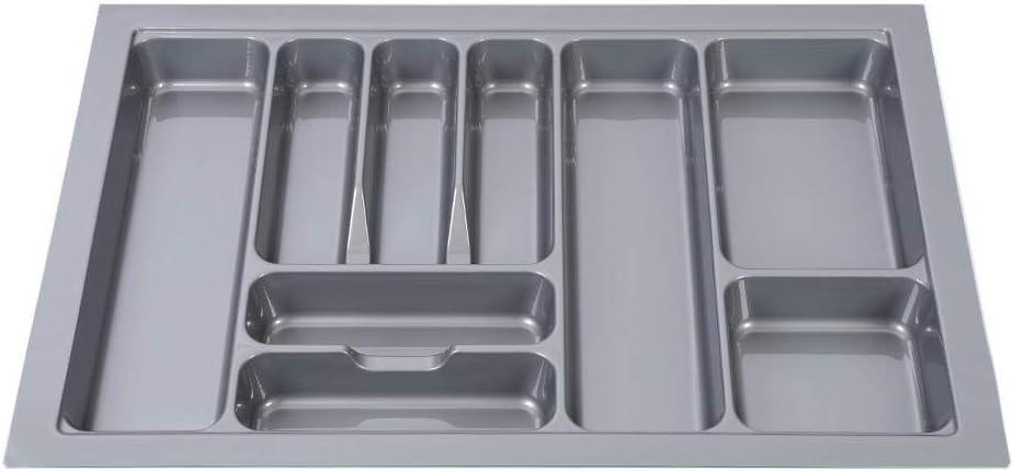 Inserto da cassetto per Posate,Resistente plastica Grigia GOTOTOP Vassoio per Posate Portaposate per cassetto da Cucina,Organizer per Posate Universale 48 * 39 * 6 cm