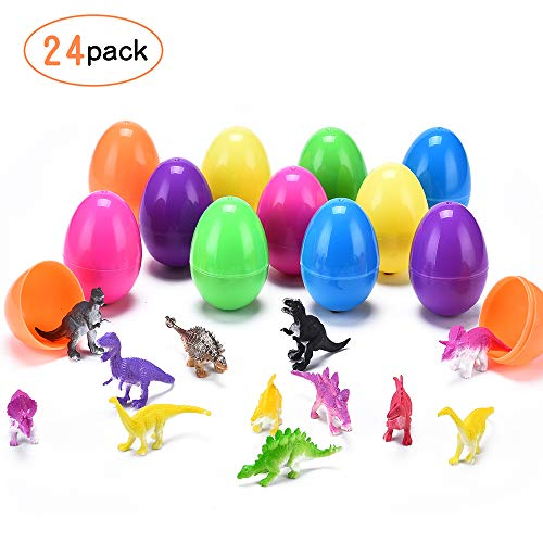 YUNNI 24 Pcs Easter Eggs Filled with Toys Mini Dinosaurs, 2.75 Inches Tall Bright Colorful Easter Egg Plastic Filled Toys in different colors for Kids Party