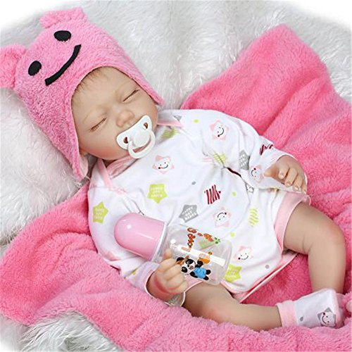 [Reborn Baby Doll Preemie Soft Vinyl Silicone Lifelike Baby Girl Dolls 22-Inch Fan Moon] (Cabbage Head Costume)