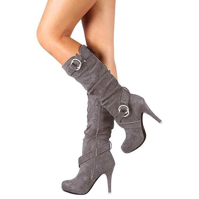 JiaMeng Mujer Botas Calentar Invierno Zapatos Hebilla Plataforma Romana Tacones Altos Botas a la Rodilla Martin