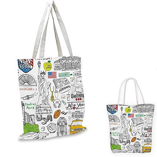 American canvas messenger bag New York City Culture Metropolitan Museum Broadway Crossroad Wall Street Sketch Style canvas beach bag White. - Messenger Canvas Broadway