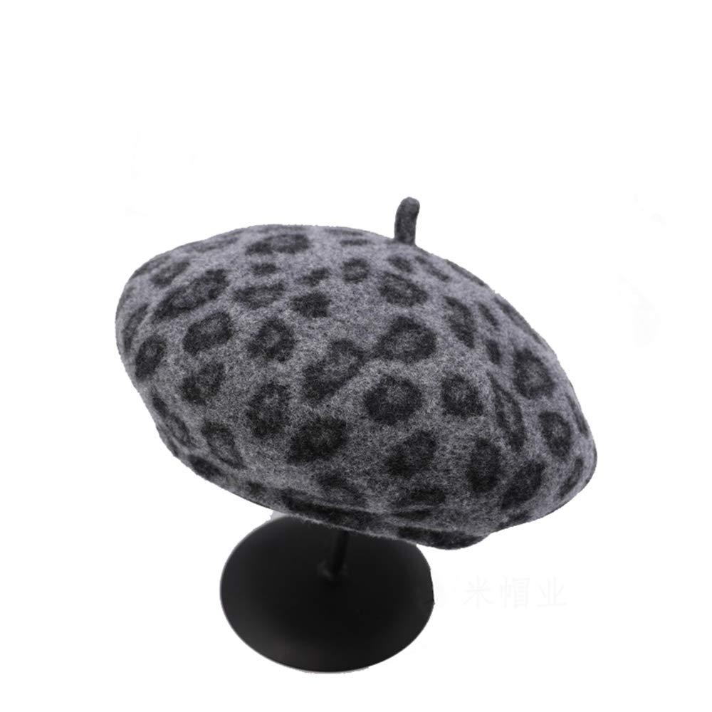Sviper Artists hat Womens Leopard Print Beret Hat French Beret Winter Autumn Hat Ladies Female in hat Color : Black