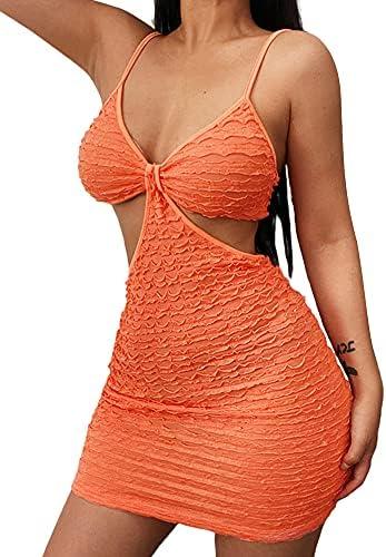 Nokiwiqis Tiktok Sexy Kint Uitgesneden Jurk voor Vrouwen Spaghetti Strap Bra Top Bodycon Clubwear Party Cocktail Jurken M