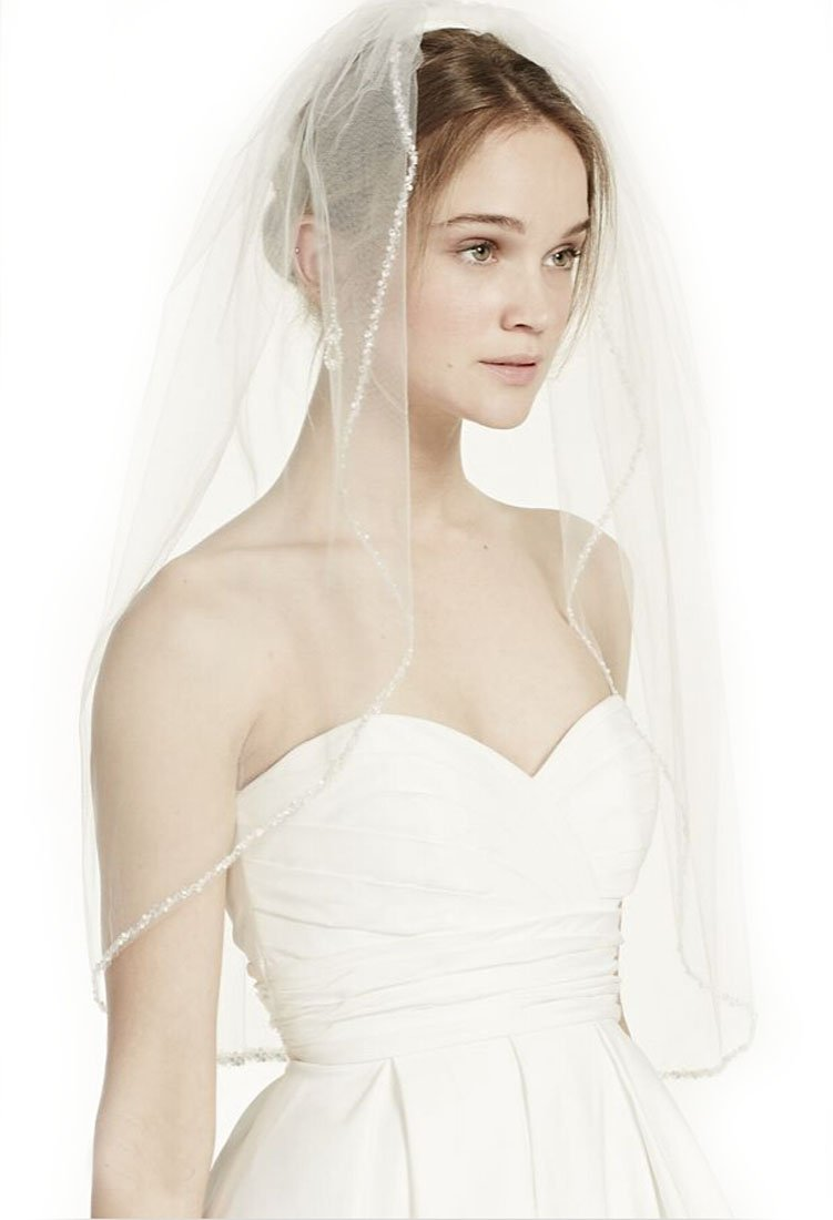 Top-Sexy Ivory 1 Tier 28''Elbow Length Short Bridal Veil Elbow Length Wedding Veil, 1 Tier with Beaded Edge 21