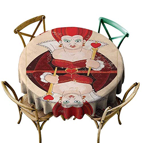 Zmlove Alice in Wonderland Protective Round Tablecloth Queen Cards Playing Alice Character in Fictional Fairy Tale Print Indoor/Outdoor Red Brown Ecru (Round - 35
