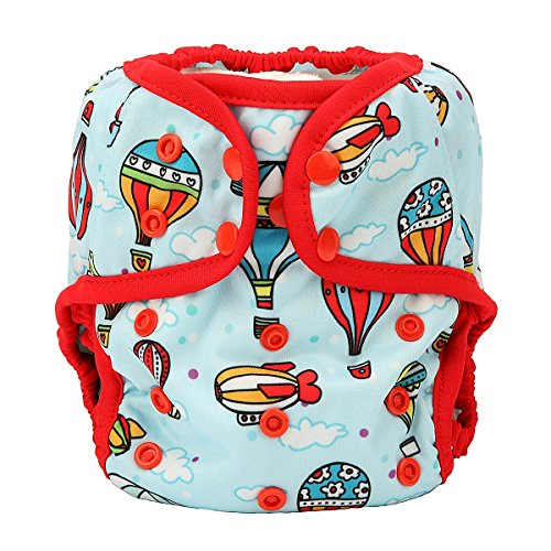 One Size Cloth Diaper Cover Snap With Double Gusset (Hot Air Balloon)