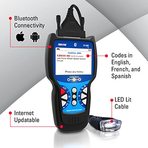 Innova Color Screen with Bluetooth 3160g Code Reader/Scan Tool with ABS, SRS, and Live Data for OBD2 Vehicles by Innova (Image #2)