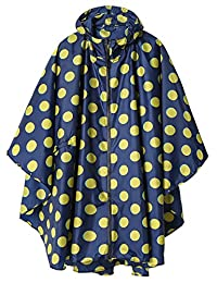 LINENLUX Rain Poncho Jacket Coat for Adults Hooded Waterproof with Zipper Outdoor