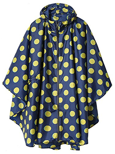 LINENLUX SiYang Stylish Unisex Hooded Waterproof Rain Poncho with Zipper Outdoor Windbreak Colorful Ripple Rain Jacket (Yellow (Stylish Hooded Zipper)