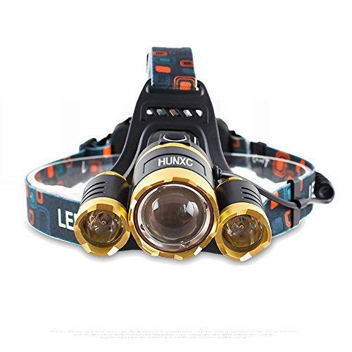 Deer Headlights Halloween Costume (LED Headlamp Headlight 6000 Lumens 2x 5000 mAh Rechargeable Batteries Waterproof Zoomable Headlamps 4 Modes, Super Bright Outdoor Sports Running Walking Camping Reading Hiking Riding Fishing)