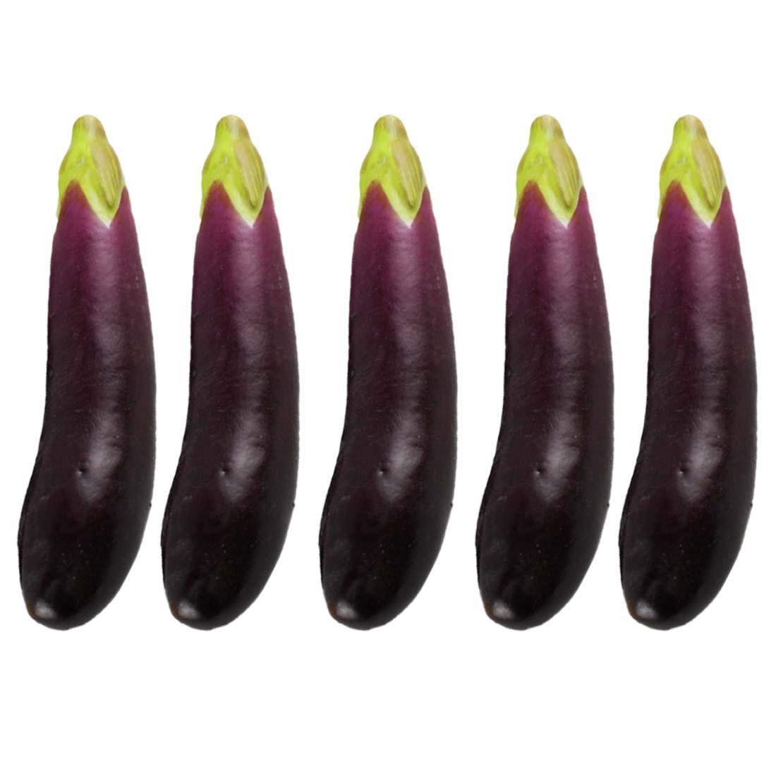 5Pcs Artificial Eggplants Simulation Fake Vegetable Photo Props Home Decoration Lorigun