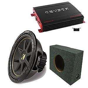 """Kicker 10C12D4 12"""" DVC Comp Sub, Crunch PX2000.1D 2000 Watt Max Mono Amp, Amp Kit, 12"""" Truck Box"""