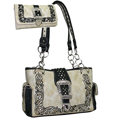 (Western Rhinestone Studded Bling Buckle Floral Embroidered Handbag Purse With Matching Wallet - Beige)