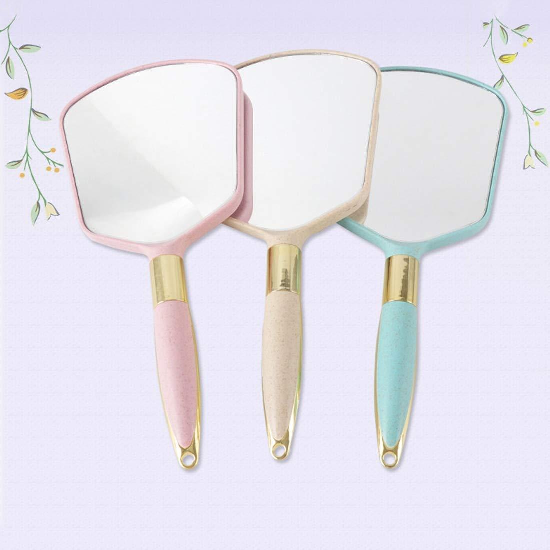 Main Rectangle Tenir le miroir de maquillage en plastique mignon Miroir de pureté du miroir Clarity Charming poignée vintage iHen-Tech