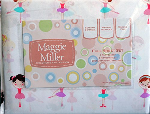 Maggie Miller 4 Piece Girls Full Size Sheet Set Dancing Ballerinas in Tutus (Miller Maggie Bedding)