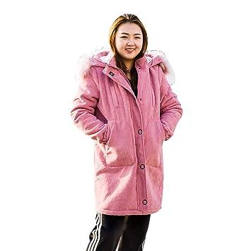 Abrigos Largo Elegante y cálido Invierno para Mujer Rosa Casual Lujo Mullido Cuello de Piel Mujer algodón de Varios tamaños Regalos para Mujer Chaquetas: ...