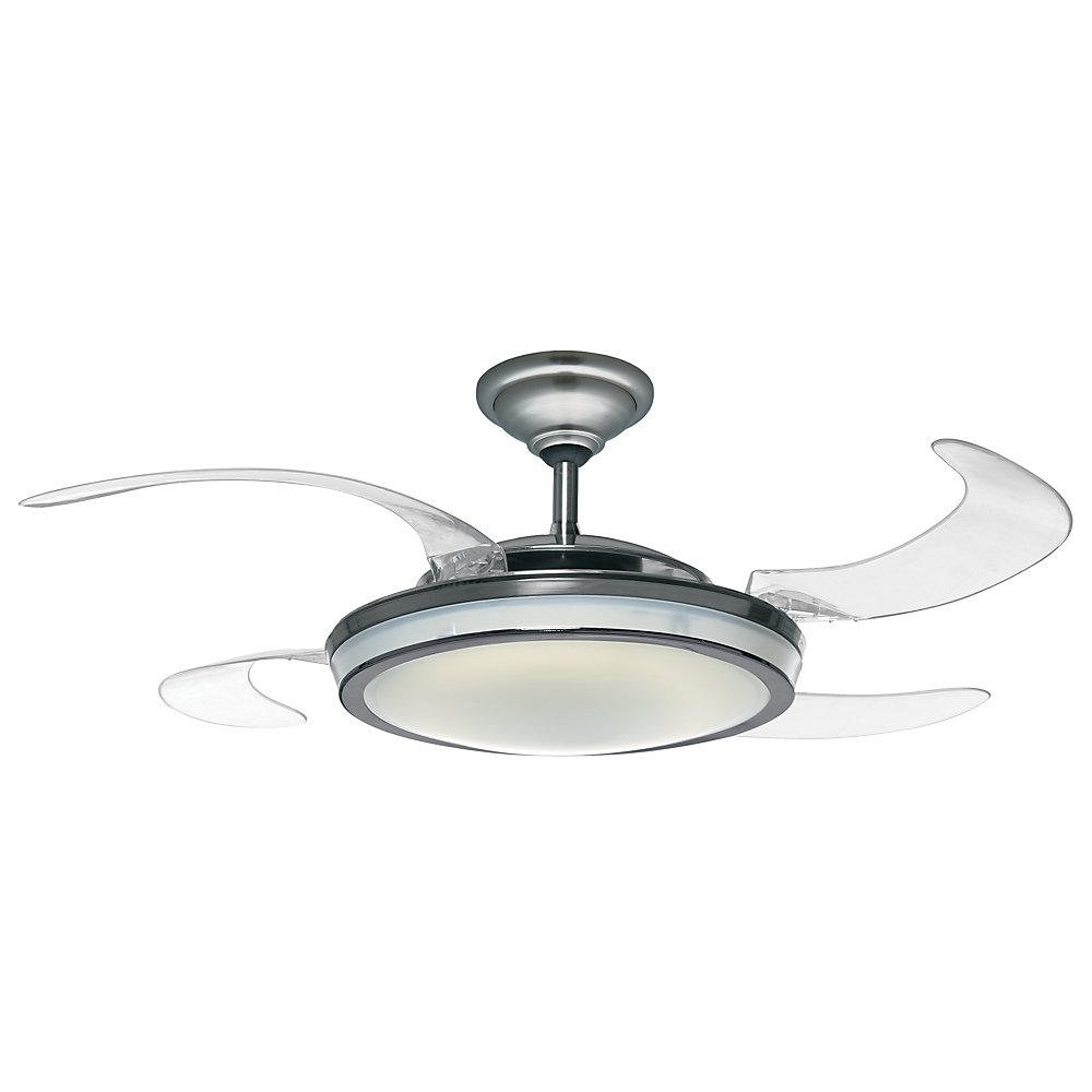 Hunter Fanaway Retractable Blade Brushed Chrome Ceiling - Small ceiling fan with light for bathroom