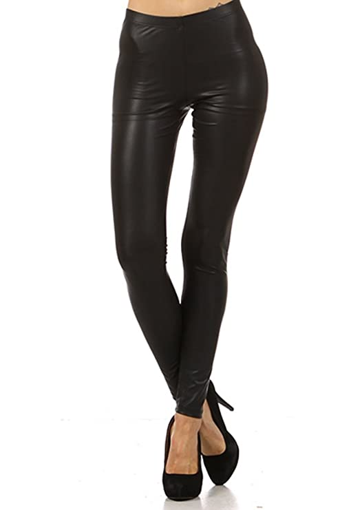 TheLovely Sexy Low Waist Faux Leather Slim Fitted Ankle Skinny Leggings