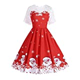Fheaven (TM) Christmas Dress Women Vintage Elegant Floral Lace Hepburn Swing Dress (US:2, red)
