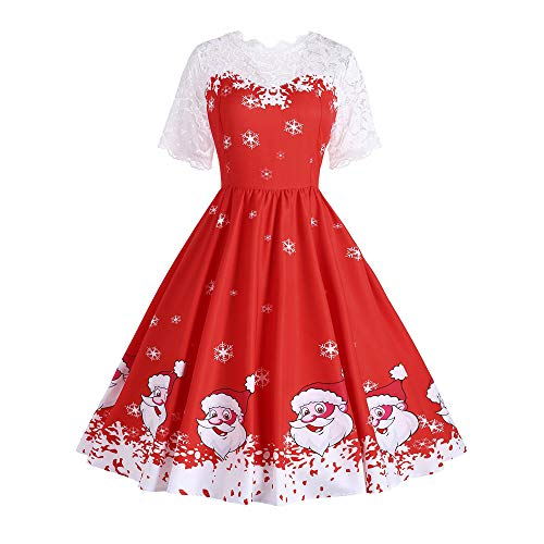 Fheaven (TM) Christmas Dress Women Vintage Elegant Floral Lace Hepburn Swing Dress (US:2, red) by Fheaven (TM)